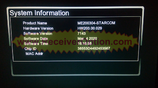 STARCOM GX6605S HW203.00.029 NEW SOFTWARE WITH YOUTUBE OK