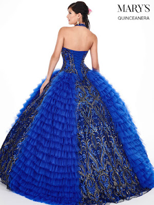 High Neckline Halter Royal/Gold Color Ball Gown Mery's Quinceanera Dress back side