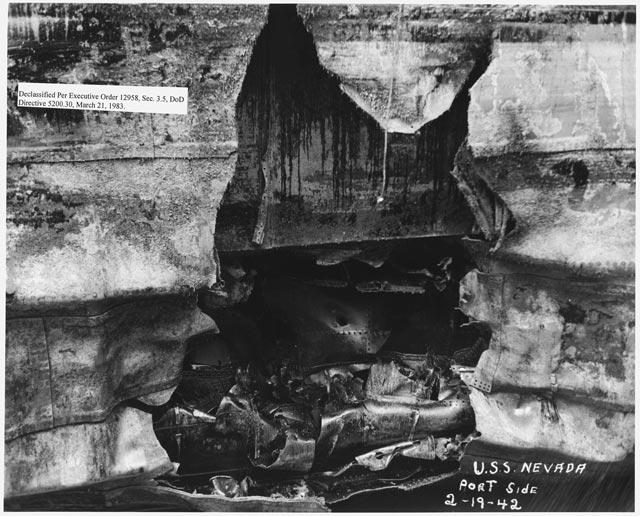 Damage to battleship USS Nevada worldwartwo.filminspector.com
