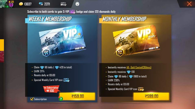 Free Fire Monthly Membership Vs Weekly Membership - Which One Is Better For You?