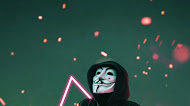 Anonymous mask man neon mobile wallpaper