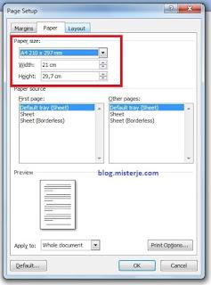 Ukuran Kertas F4 Di Microsoft Word