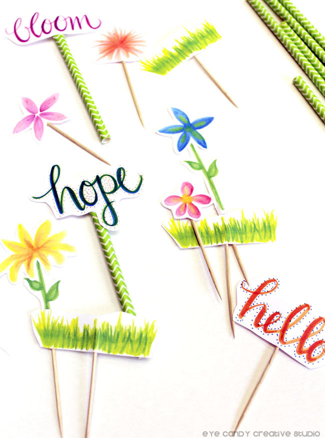flowers, grass, bloom, hope, spring toppers, hand lettering, party toppers