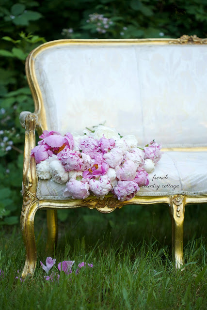french settee with pink peonies