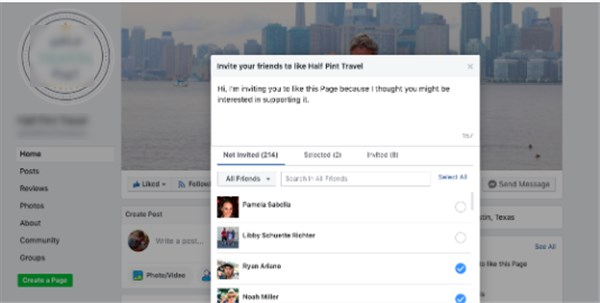 How to invite friends to like a Facebook page