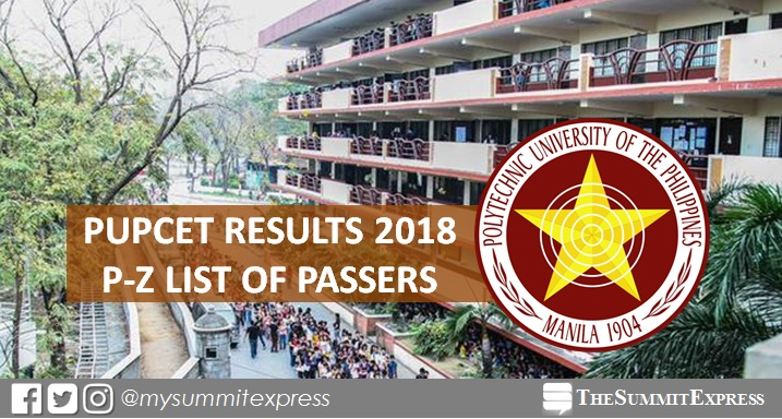 P-Z Passers List: PUPCET Results AY 2018-2019