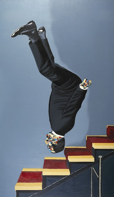 Pintura de Eduardo Arroyo que presenta a un hombre vestido de traje y de cabeza mientras baja una escalera