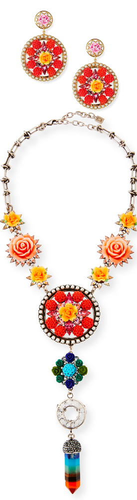 Dannijo Peony Floral Statement Y-Drop Necklace and Maddie Floral Statement Earrings (sold separate)