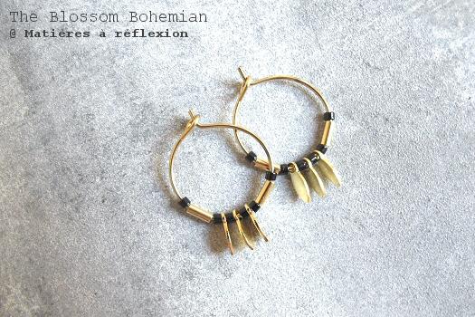 Boucles créoles The Blossom Bohemian bijoux dorés noirs Sun