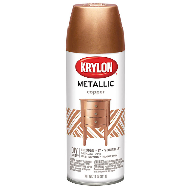 Krylon Metallic Copper Paint spray Hula Hoops to create large size Christmas wreaths.