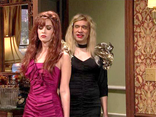 Fred Armisen (left) in a 2009 episode of television's Saturday Night Live. Between SNL, Portlandia and other TV and film appearances, Fred has probably femulated more than any other current actor or comedian