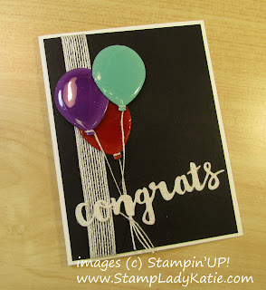 Balloon Card made with Stampinup's Balloon Bouquet Punch by StampLadyKatie. The balloons were covered with the Fine Tip Glue Pen clear glue (crystal laquer)