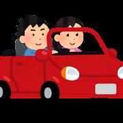 オープンカーに乗るカップルのイラスト(女性)