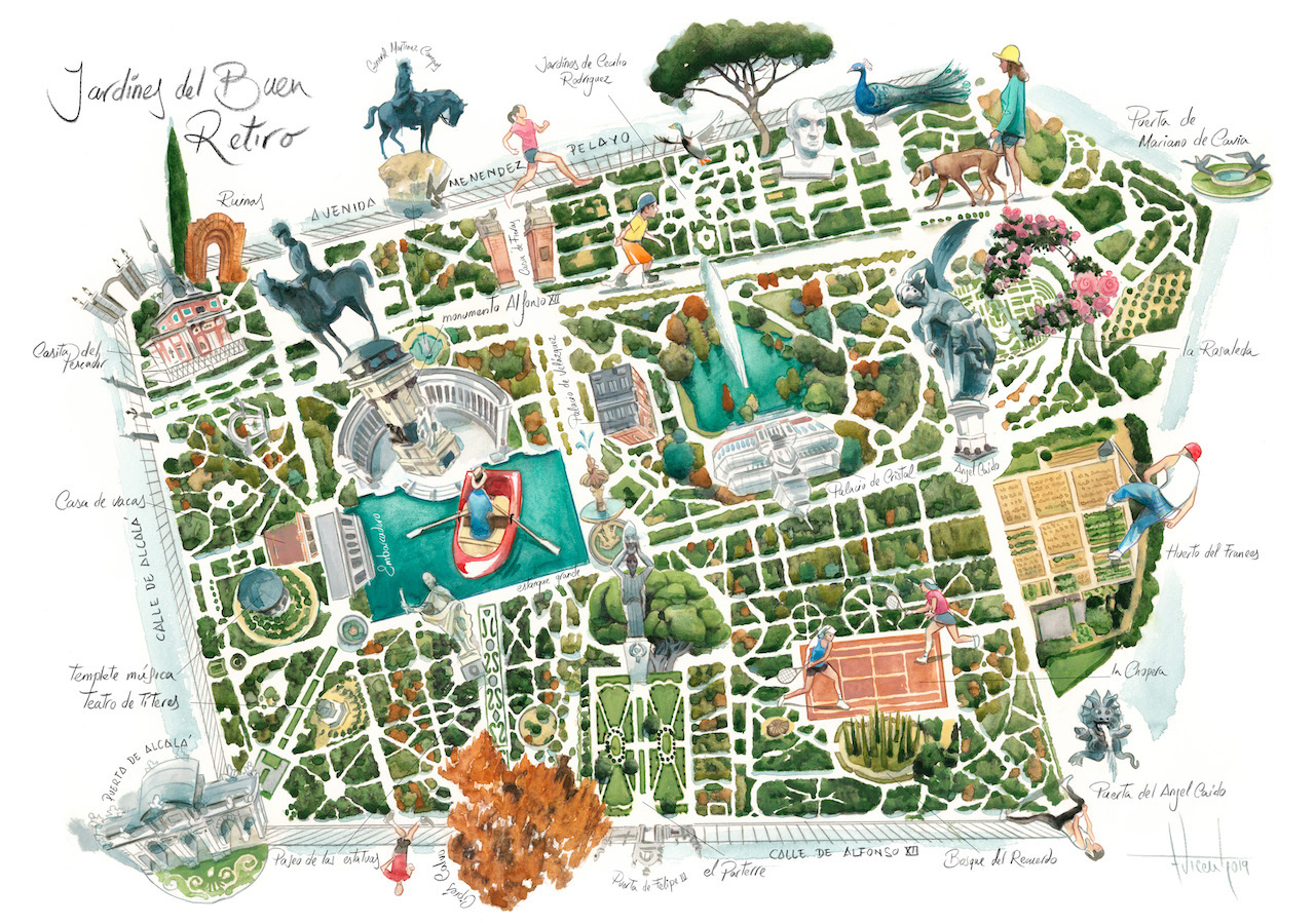 Mapa Parque Del Retiro.Fernando Vicente Blog Jardines Del Retiro De Madrid