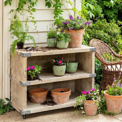 rustic reclaimed wood potter's cart for garden