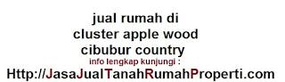jual rumah di cluster apple wood cibubur country BU