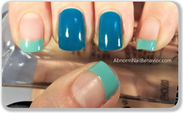 Green french tip simple nail art