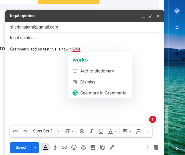 grammarly ad-on for chrome correcting email