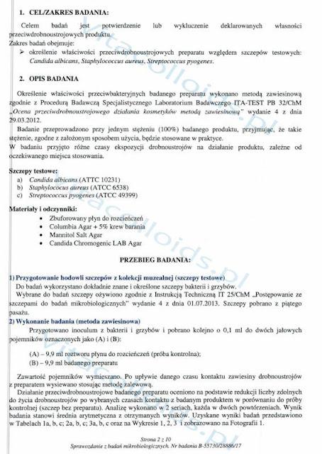 Srebro koloidalne Vitacolloids vs Candida Albicans badanie str. 2