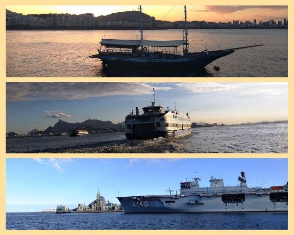 Passeio de barco na Baia de Guanabara, no Rio de Janeiro, e com um lindo pôr do sol