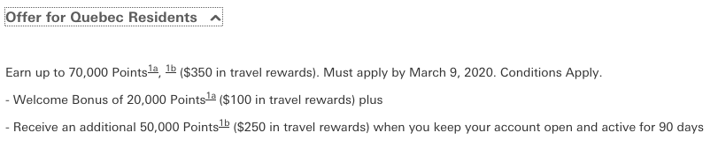 HSBC World Elite Mastercard - Up to 40,000 bonus points + first year annual fee waived (70,000 points + annual fee for Quebec)
