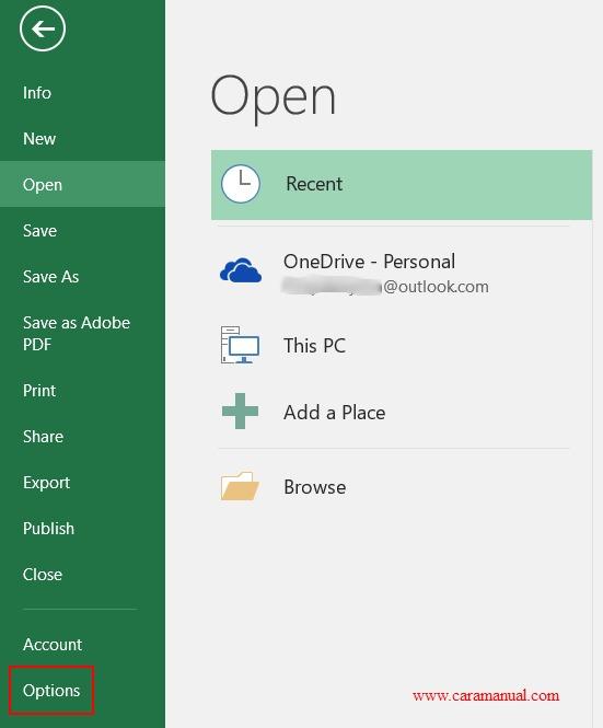 Options - Microsoft Excel