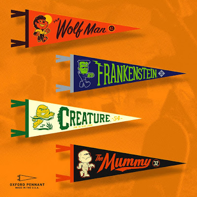 San Diego Comic-Con 2018 Exclusive Boodega Monstore Pop-Up Store Edition Universal Monsters Felt Pennants by Super7 x Oxford Pennant