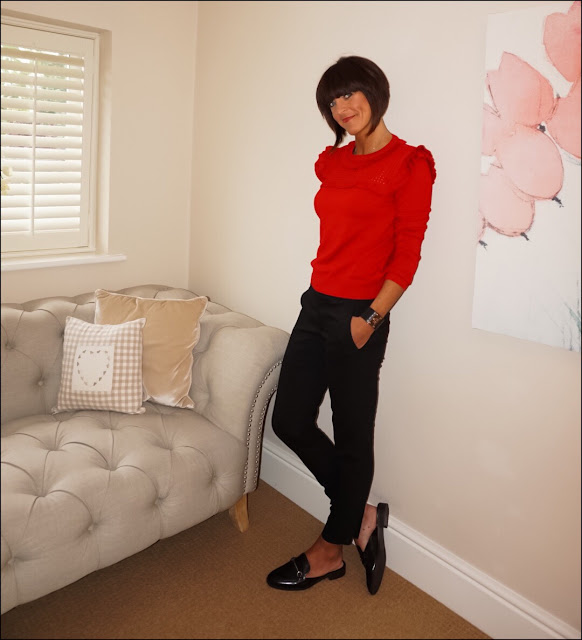 My Midlife Fashion, Marks and Spencer Ruffle Shoulder Jumper, Mango snake effect cuff, zara cigarette trousers, marks and spencer trim mule loafer