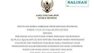 KEPUTUSAN KOMISI PEMILIHAN UMUM REPUBLIK INDONESIA NOMOR 174/PL.02.2-Kpt/06/KPU/III/2020 TENTANG PERUBAHAN ATAS KEPUTUSAN KOMISI PEMILIHAN UMUM NOMOR 82/PL.02.2-Kpt/06/KPU/II/2020 TENTANG PEDOMAN TEKNIS PENYERAHAN DUKUNGAN DAN VERIFIKASI DUKUNGAN BAKAL PASANGAN CALON PERSEORANGAN DALAM PEMILIHAN GUBERNUR DAN WAKIL GUBERNUR, BUPATI DAN WAKIL BUPATI, DAN/ATAU WALI KOTA DAN WAKIL WALI KOTA TAHUN 2020