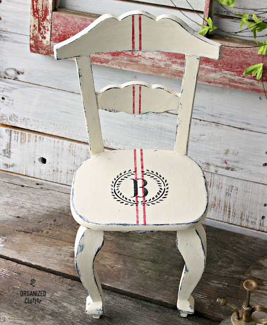 Upcycled Thrift Shop Chair with Paint, Monogram, & Grain Sack Stripe Stencils