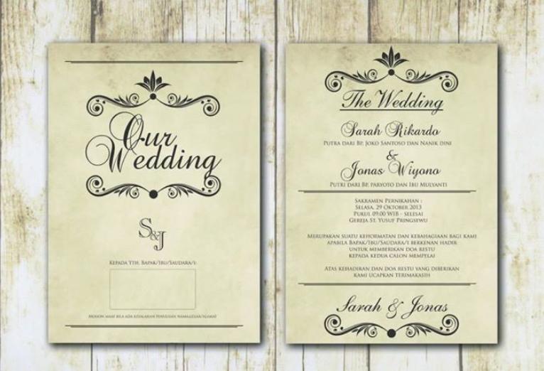 Contoh Isi Undangan Pernikahan Elegan