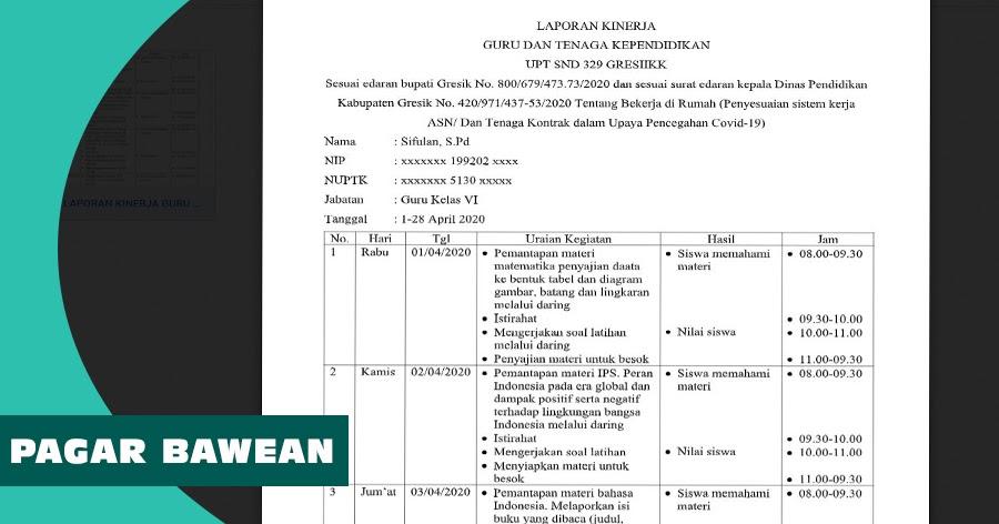 Contoh Laporan Kinerja Guru Dan Tenaga Kependidikan Tentang Bekerja Di Rumah Dan Pencegahan Covid 19 Pagar Bawean