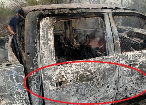 Foto; Así dejaron Sicarios camioneta tapizada de balas y en cenizas tras ejecutar a Comandante en Chihuahua tras guerra CDS vs La Línea