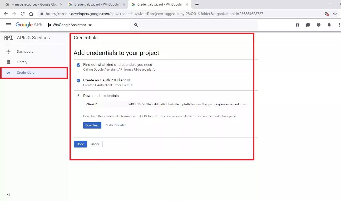 completed Add credentials to your project page, with Done button displayed.