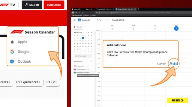 Cara Menambah Jadwal Formula 1 ke Kalender HP dan PC Otomatis