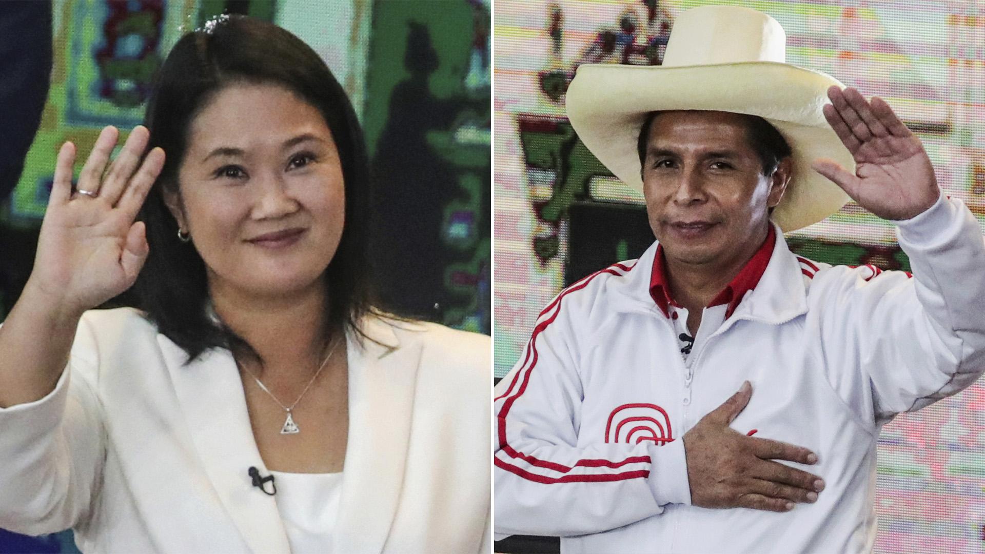 Ballotage en Perú: con el 90% de las actas procesadas, Keiko Fujimori se impone a Pedro Castillo por escaso margen