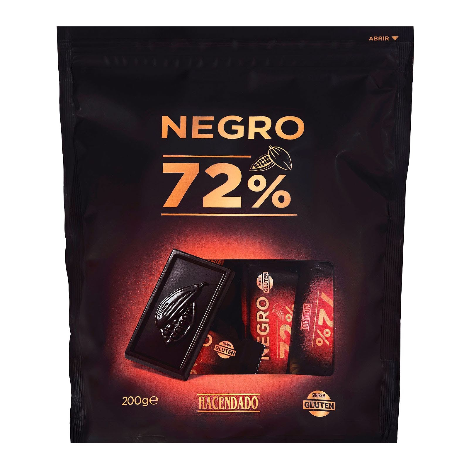 Chocolatinas de chocolate negro extrafino 72% de cacao Hacendado