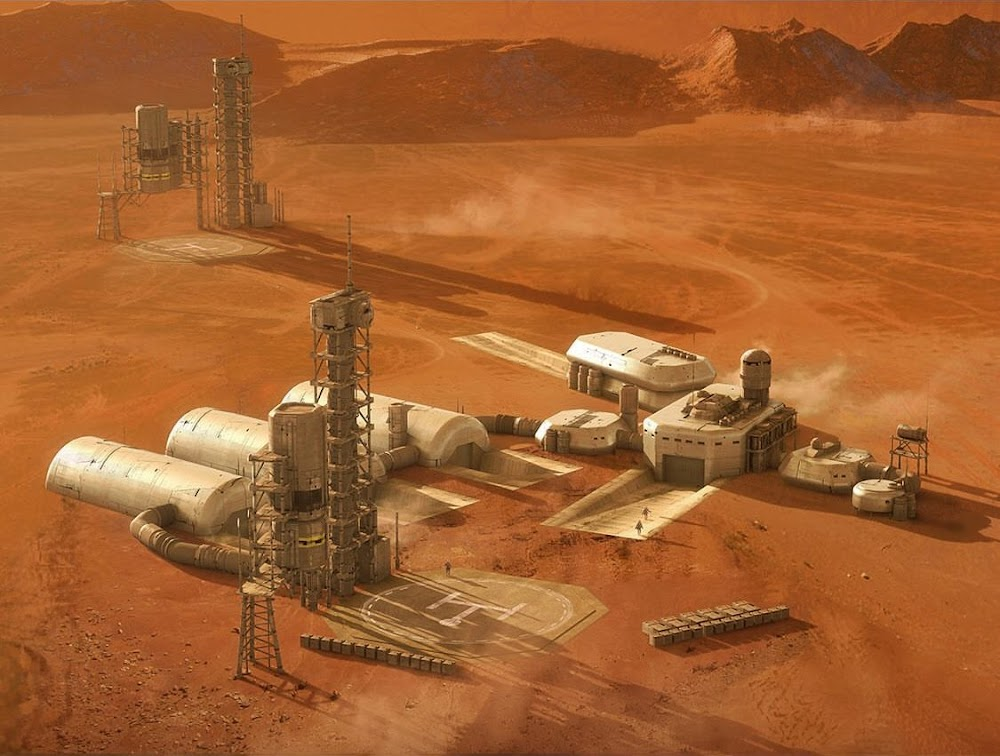 Mars base concept art for Ad Astra movie by Jonathan Bach