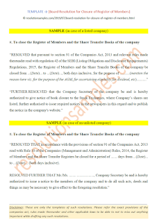 board resolution for closure of register of members