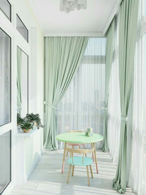 Nifty balcony design with wonderful curtains ideas and beautiful table and chairs