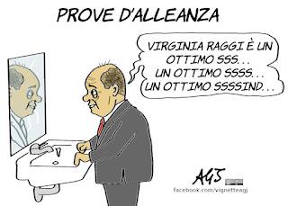 zingaretti, raggi, m5s, PD, nuovo governo, alleanze locali, roma, politica, vignetta, satira