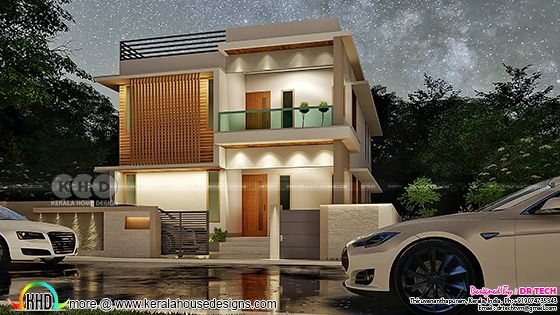 Modern flat roof villa by DR TECH from Thiruvananthapuram