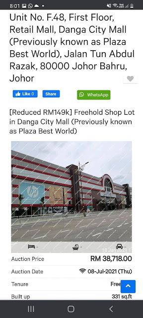 Lot Kedai Untuk Dilelong RM38K di Danga City Mall, Johor Bahru