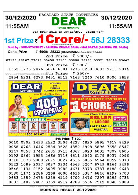 Nagaland State Lottery Sambad 30-12-2020 Today Result 11.55 AM