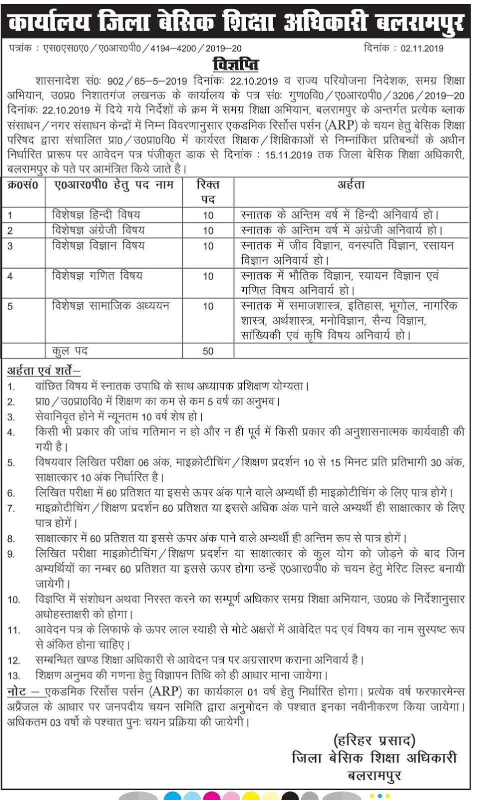 Balrampur: ARP पद के चयन के लिए विज्ञप्ति जारी