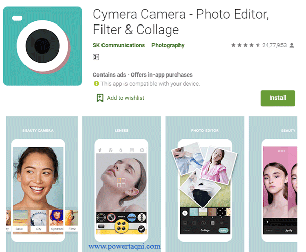 "1. تطبيق ""Cymera Camera - Photo Editor, Filter & Collage"""