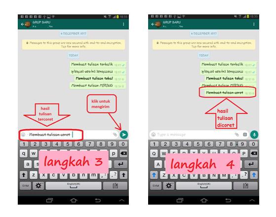 Membuat tulisan MIRING di WhatsApp