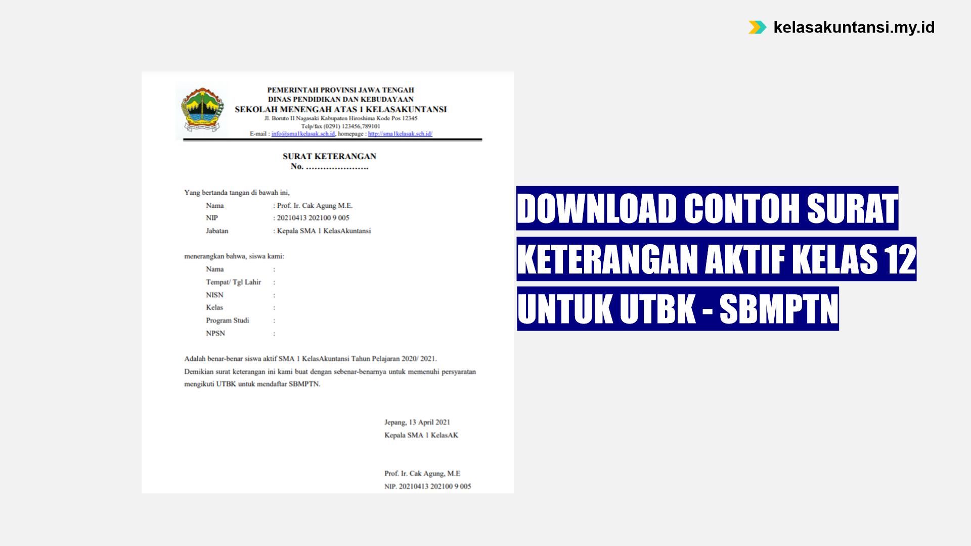 Download Contoh Surat Keterangan Aktif Kelas 12 untuk SBMPTN 2021