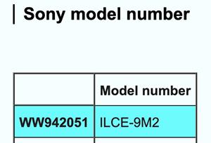 Скриншот с обозначением модели Sony ILCE-9M2 (WW942051)