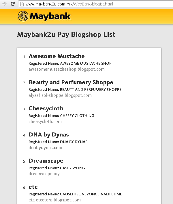 Maybank2u Pay blogshop list